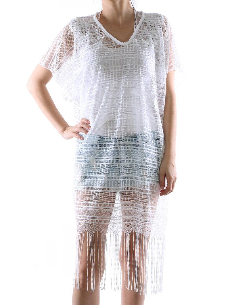 RI001 LACE CROCHET COVER UP PONCHO SCARF