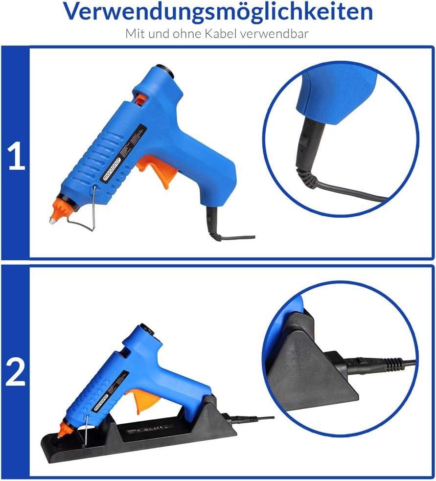 Deuba Pistola de Silicona 80W caliente inal/ámbrica con estaci/ón de carga y malet/ín pistola de pegamento para bricolaje reparaciones casa oficina