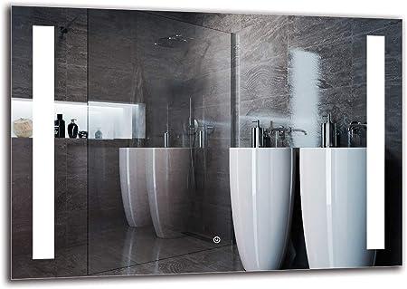Interruttore tattile Specchio LED Deluxe ARTTOR M1CD-18-40x40 Specchio a Muro Bianco Caldo 3000K Dimensioni dello Specchio 40x40 cm Specchio con Illuminazione Specchio per Bagno