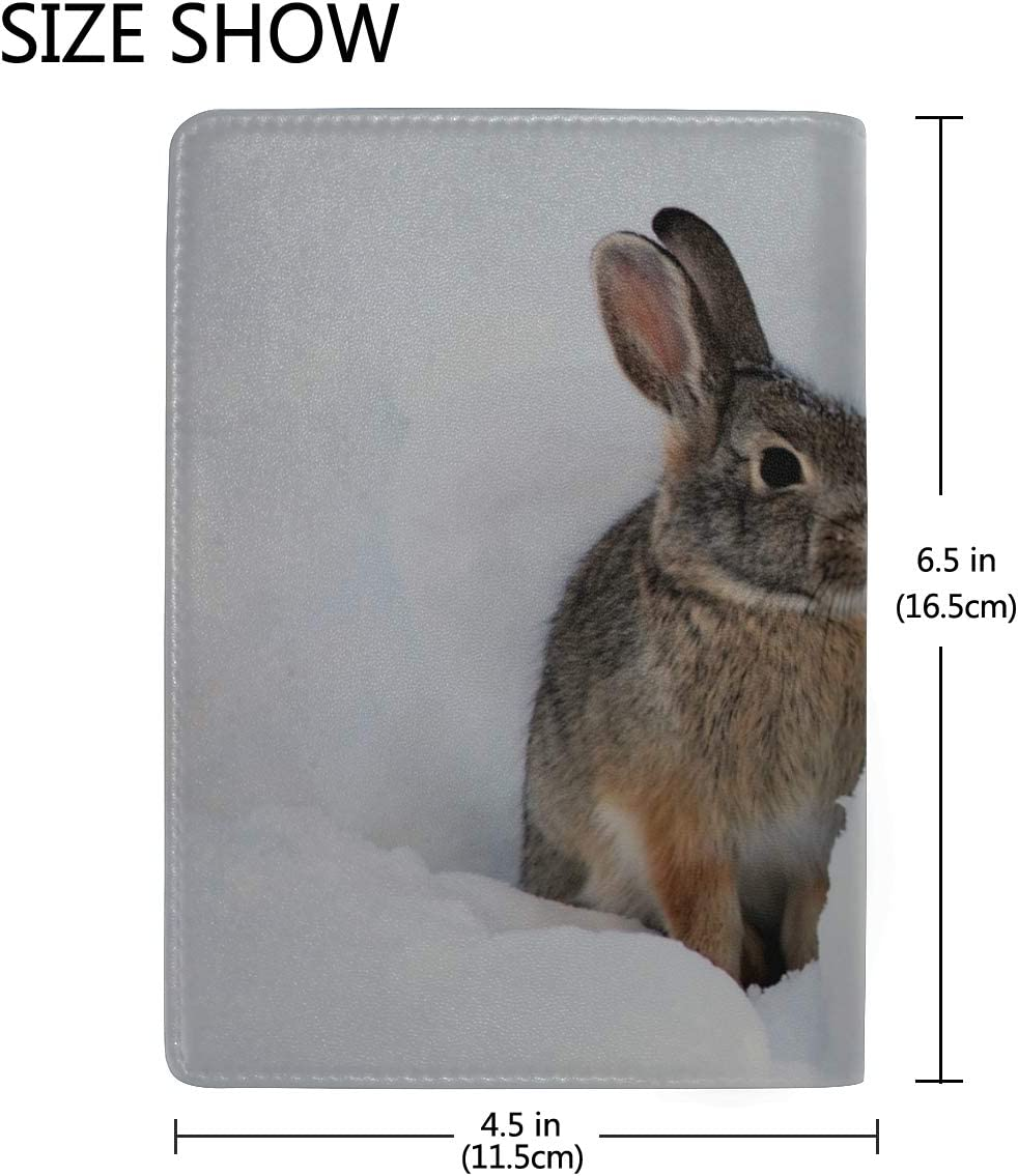 White Snow Hare Rabbit In Winter Blocking Print Passport Holder Cover Case Travel Luggage Passport Wallet Card Holder Made With Leather For Men Women Kids Family