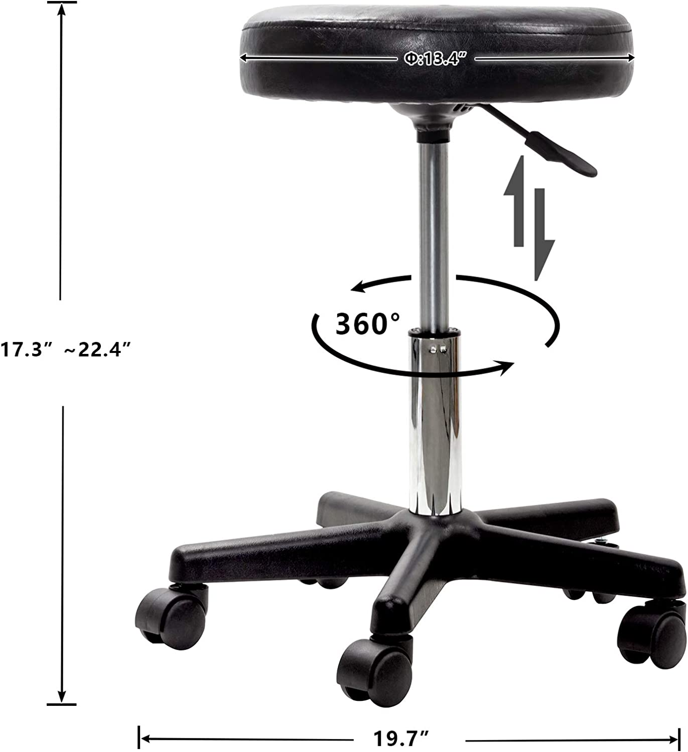 Display4top Black Adjustable Hydraulic Rolling Swivel Stool Chair with Wheels for Massage Spa Salon Beauty Manicure Tattoo Therapy Office Hairdressing Shops