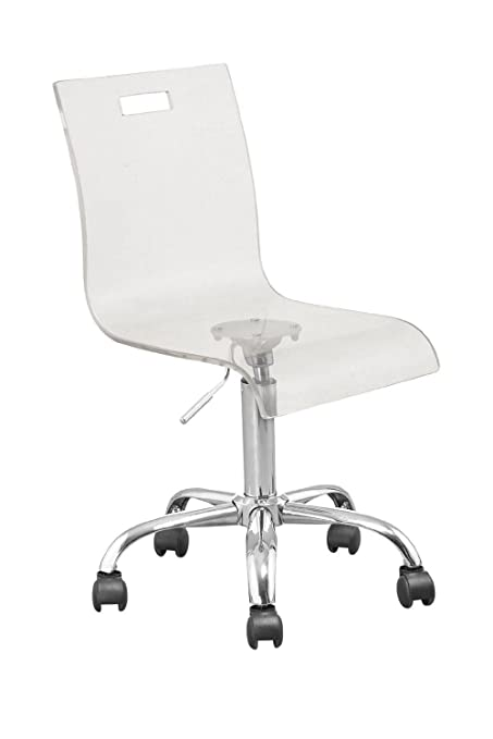 Retro Acrylic Hydraulic Lift Adjustable Height Swivel Office Desk Chair  Clear (7009)