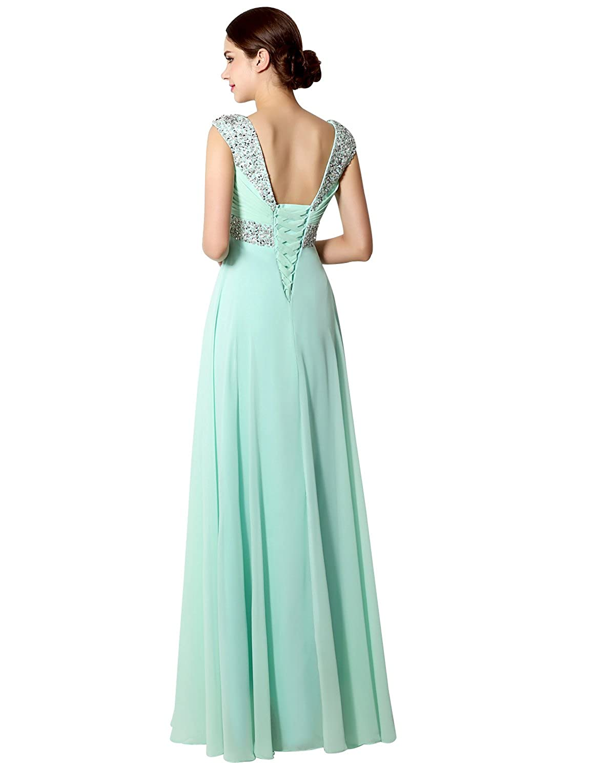 Clearbridal Women's Long Chiffon Prom Evening Dress A-Line Bridesmaid Gown with Crystal Beaded SD179 Sky Blue UK30