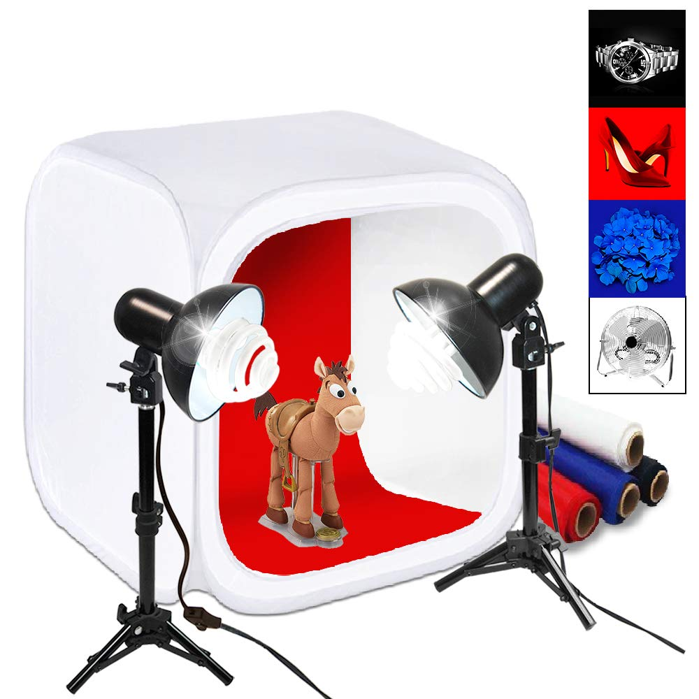 Julius Studio 30'' Cube Photo Shooting Tent with Color Backdrops, Table Top Photo Lighting Kit, Light Head Lamp, Spiral Photo Bulb, Small Light Stand Tripod, Photo Studio, JSAG266