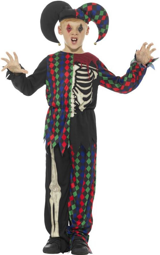Smiffys Disfraz de Esqueleto bufón, Multicolor, con Parte de ...