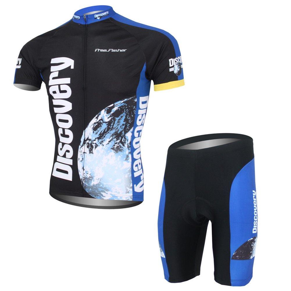 Set di Maglia Ciclismo da Uomo a Manica Corta Maglia Bici + Pantaloncini con Imbottitura Free Fisher