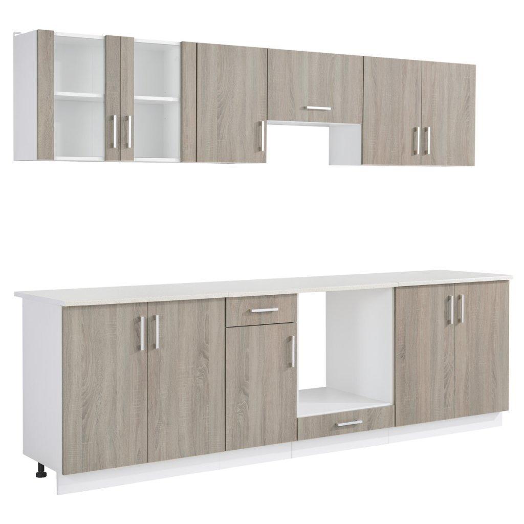 Anself Küchenzeile Küchenblock Einbauküche inkl. Einbauherd und Herdplatte