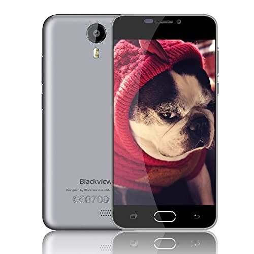 SIM Free Mobile Phones, Blackview BV2000 4G Dual SIM Cheap Smartphone, 5.0 Inch HD Unlocked Phone with 8MP Camera, MTK6735 Quad-core 8GB ROM, Andriod 5.1 Cellphone with Two Original Battery Covers