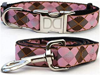 "product image for Diva-Dog 'Pink Argyle' Custom Medium & Large Dog 1"" Wide Dog Collar with Plain or Engraved Buckle, Matching Leash Available - M/L, XL"