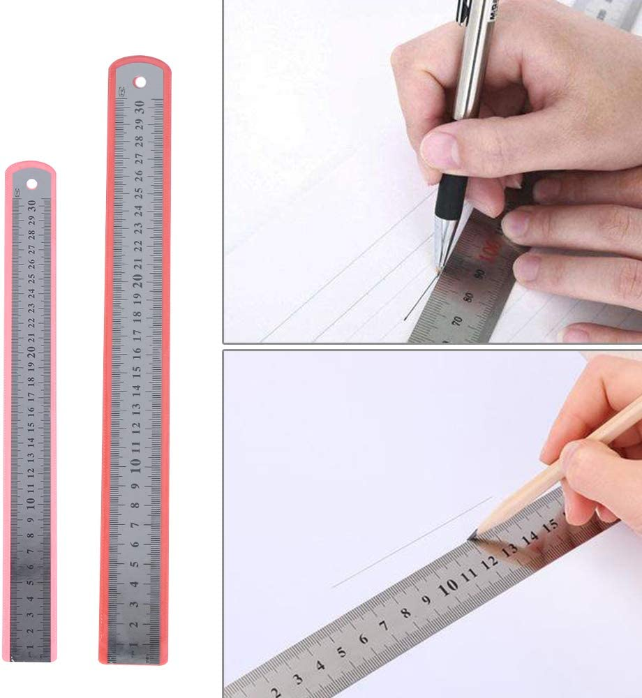 50cm Unstopup 30//50 mm Precision Metric Imperial Ruler Measuring Tool,Metric Stainless Steel Double Sided Straight Rulers