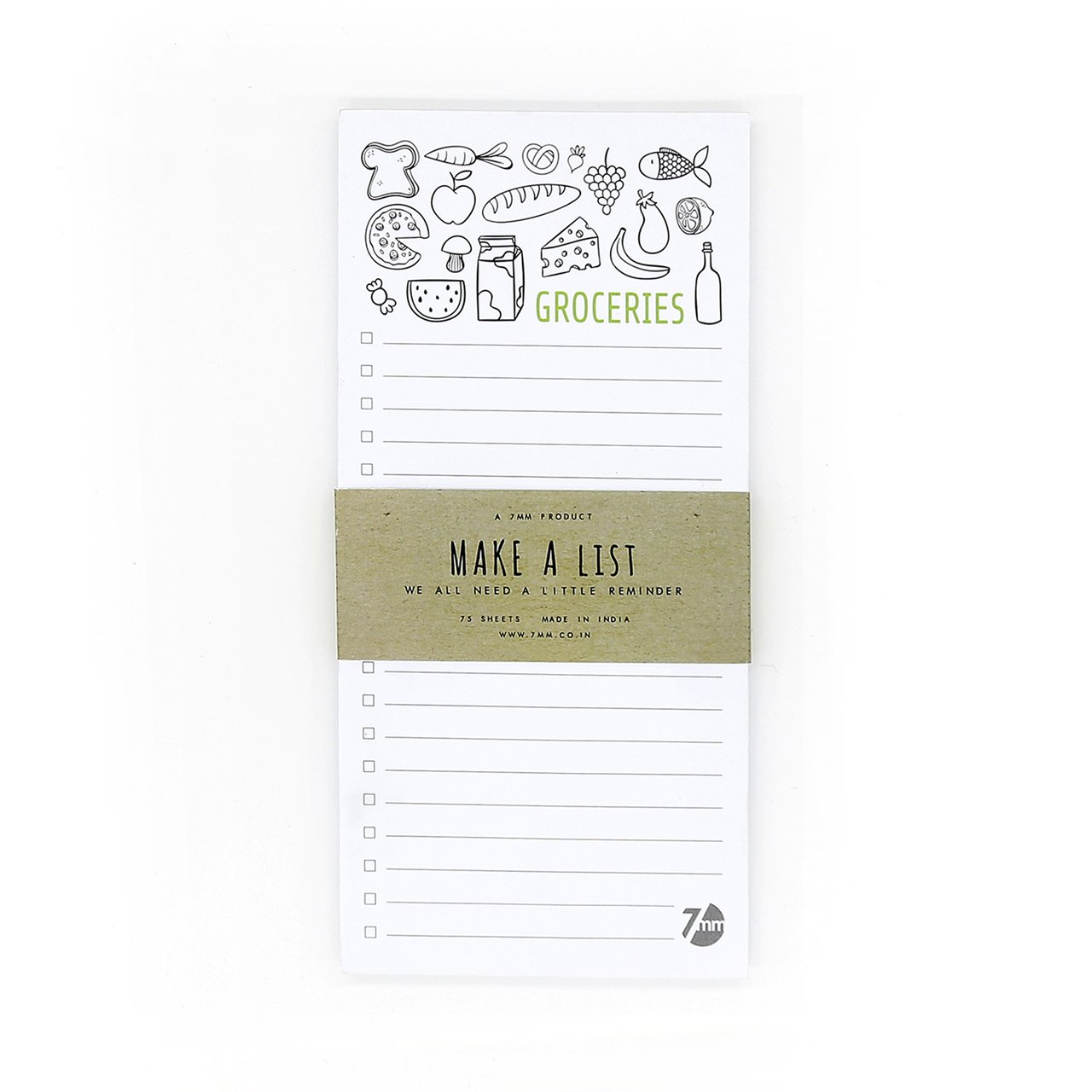 Amazon price history for 7mmTM GROCERIES, 75 leaves, Printed Checklist Notepad, 10.5 x 22 cms
