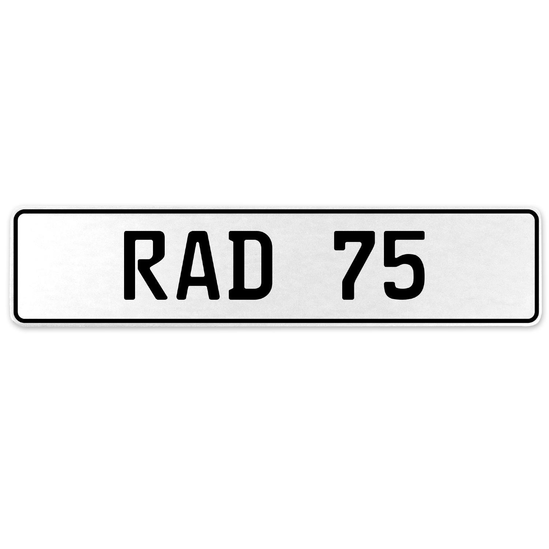 Vintage Parts 553979 RAD 75 White Stamped Aluminum European License Plate