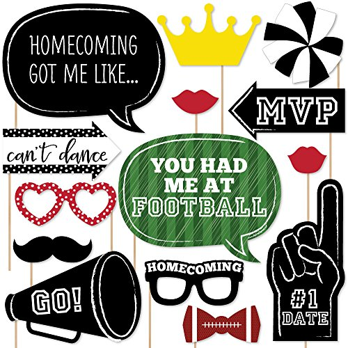 Homecoming - Football Themed School Dance Photo Booth Props Kit - 20 Count