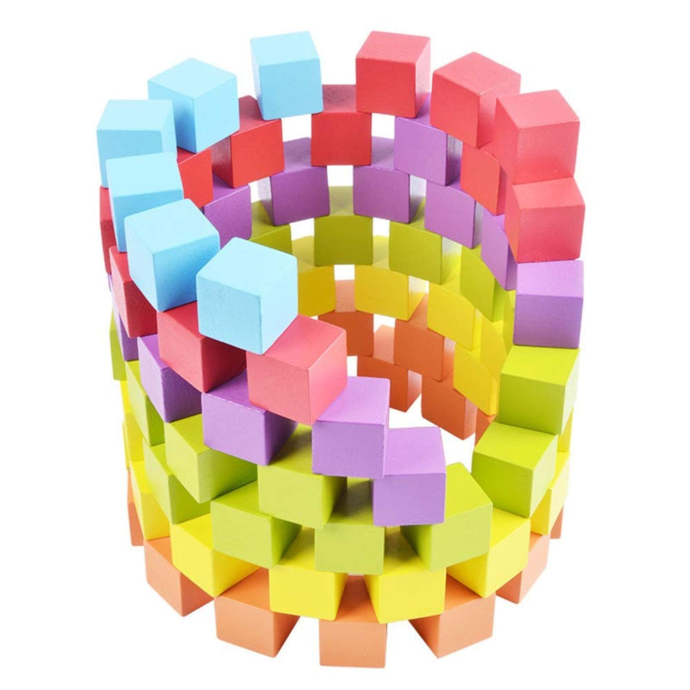 ZnMig Children 3-12 Years Old Cognitive Math Cubes Pile Up Puzzle Building Blocks Children's Toys Early Education Puzzle Building Blocks Toys (Color : Multi-Colored, Size : One Size)