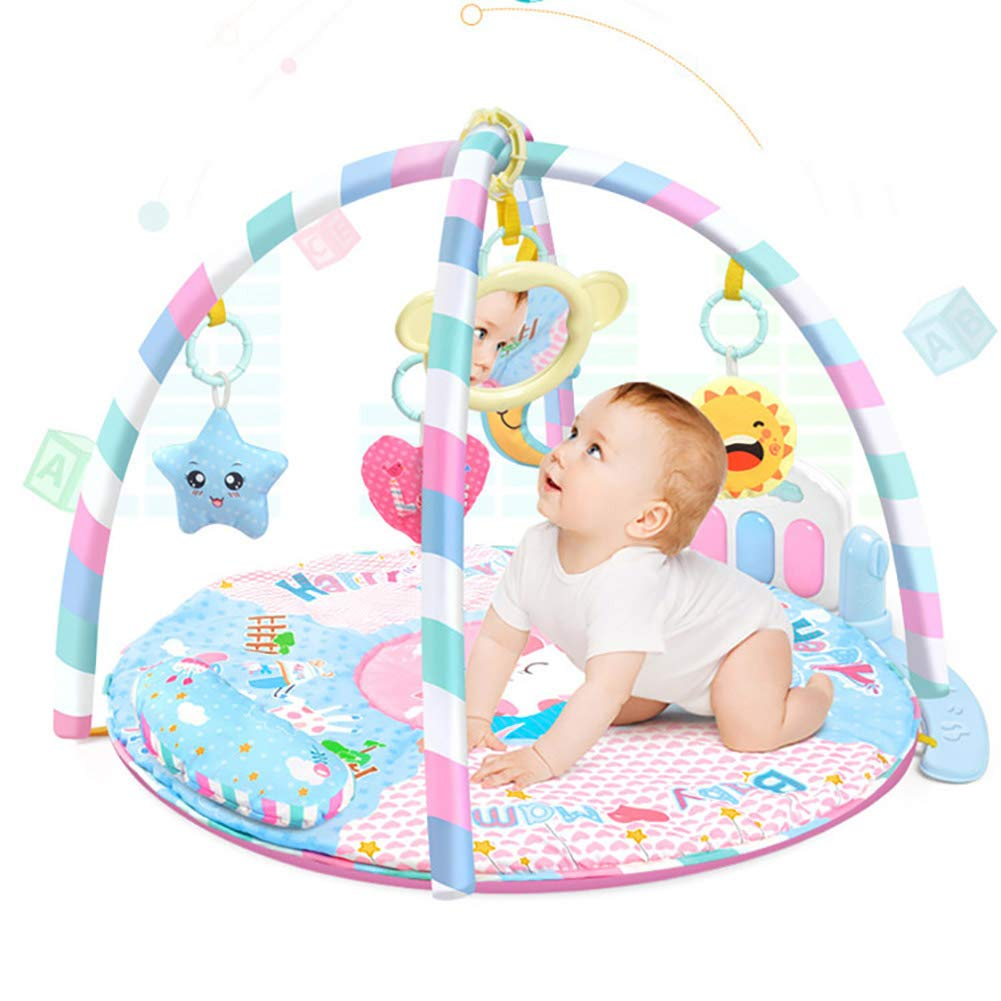 LamicAR Baby Cartoon Cradle Education Toy Fitness Frame Piano Music Blanket Crawling Mat Light Pink by LamicAR (Image #6)