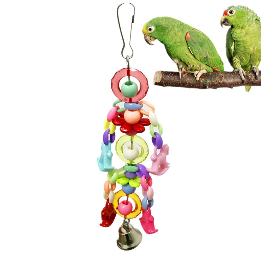 HUN Huangou Beautiful Pet Bird Parrot Acrylic Swing Cage Bells Bite Toy Parakeet Cockatiel Toys (Random, About 22cm)