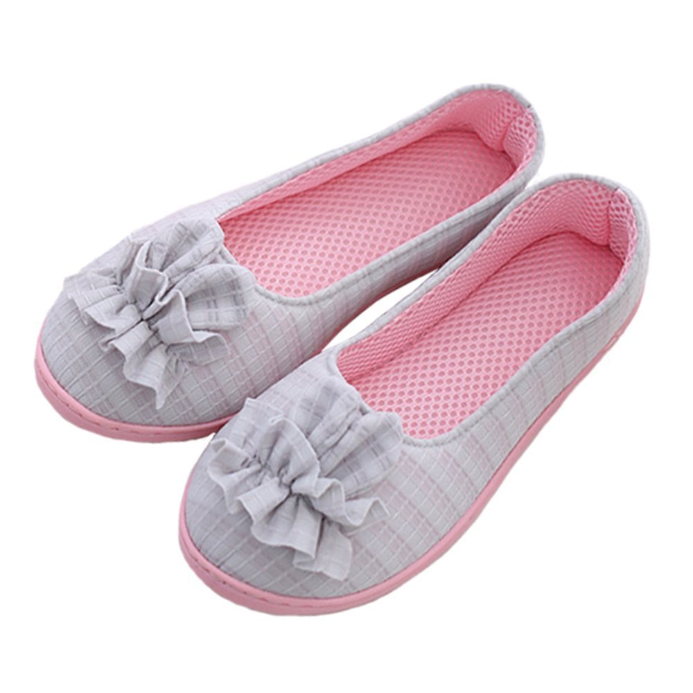Share Maison Women House Indoor Slippers Household Summer Anti-Slip Shoes for Pregnant Edema Yoga Shoes (L(US Women 7-8/EUR 39-40), grey3)
