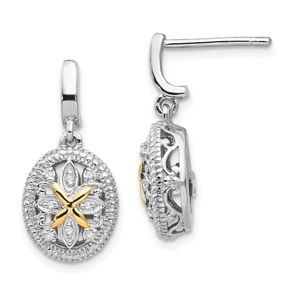 2f8b72eb2f1 Amazon.com  Sterling Silver with 14k Gold(0.08cttw) with Diamond Earrings  (21mm x 10mm)  Jewelry