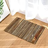 NYMB Rustic Wood Decor, Vertical Barn Wooden Wall Planking Texture Bath Rugs, Non-Slip Doormat Floor Entryways Indoor Front Door Mat, Kids Bath Mat, 15.7x23.6in, Bathroom Accessories
