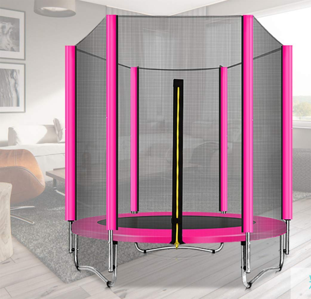大型 トランポリン トランポリン セーフティーネット付き 安心安全 ご自宅のお庭で遊園地気分 子供から大人まで楽し直径150cm  Pink B07SJ7LYH7