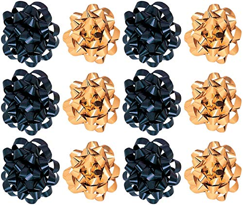 Decorative Confetti Gift Bows, Assorted Black and Metallic Gold (12/Pkg) Pkg/1