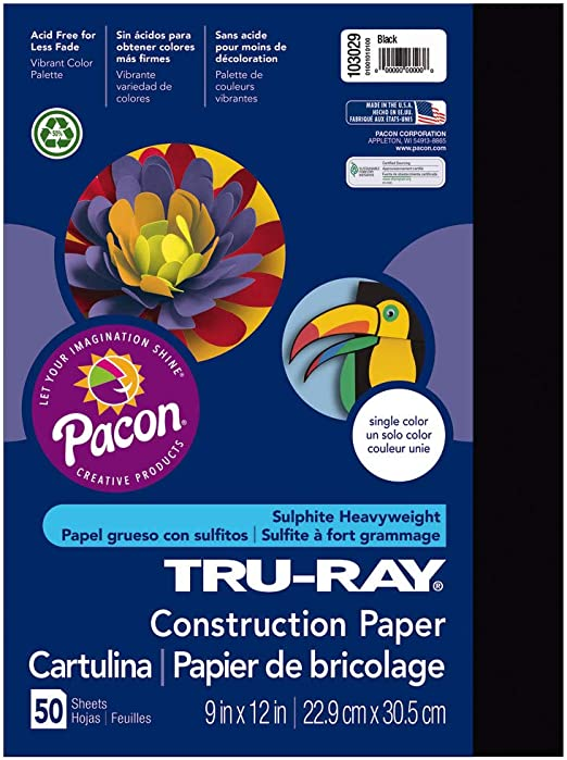 """Assorted Cr 50 Sheets 9 X 12/""""Es 103031 Tru-Ray Sulphite Construction Paper"""