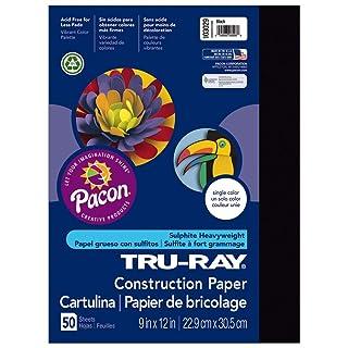 "Tru-Ray Heavyweight Construction Paper, Black, 9"" x 12"", 50 Sheets"