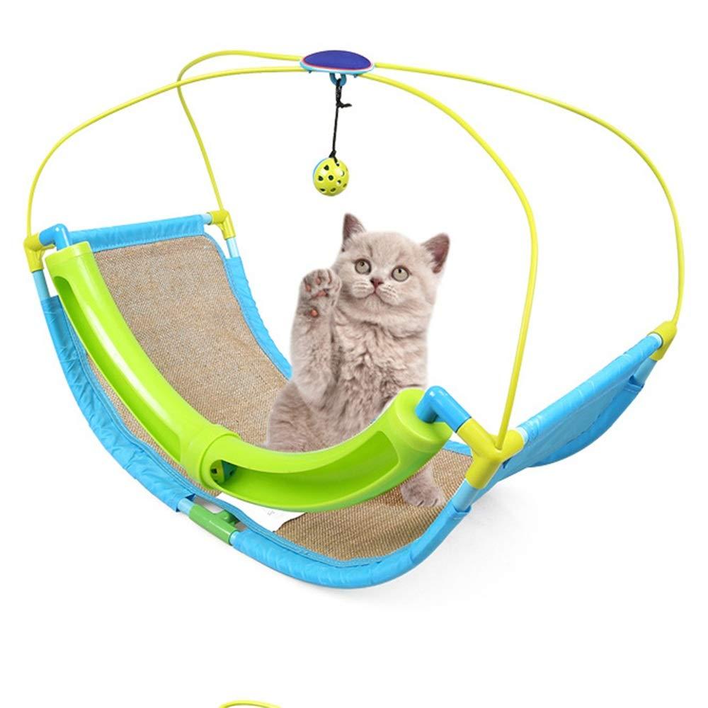 Sumferkyh Cat Scratch Pad Staffa di Palla Campana Giocattolo Gatto Giocattolo Pet con Campane e Lino oscillante Giocattolo verde. Ritagli per Nascondere i Giocattoli