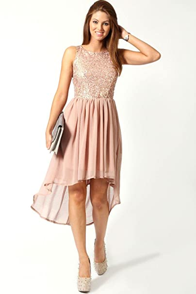 11bdbce987bc Boohoo Womens Jess Sequin Top Open Back Chiffon Dip Hem Dress in Blush size  12