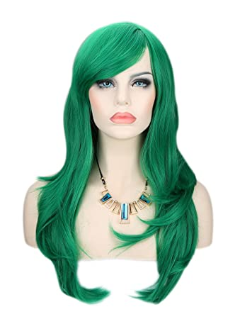 "15/"" Shoulder Length Straight Cut with Long Bangs Teal Green Cosplay Wig NEW"