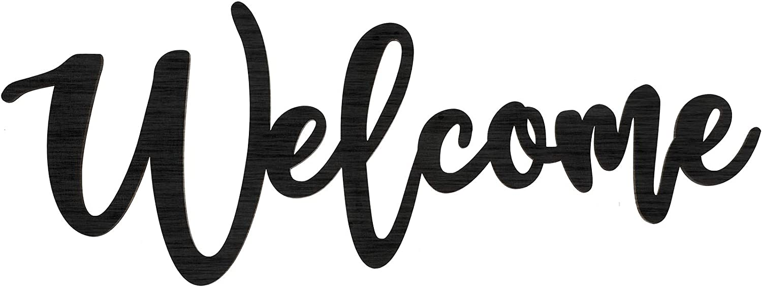 Jetec Wood Cutout Welcome Sign Wooden Welcome Wall Decor Word Sign Wood Art Sign for Front Door Rustic Home Gallery Wall Decorations, Black