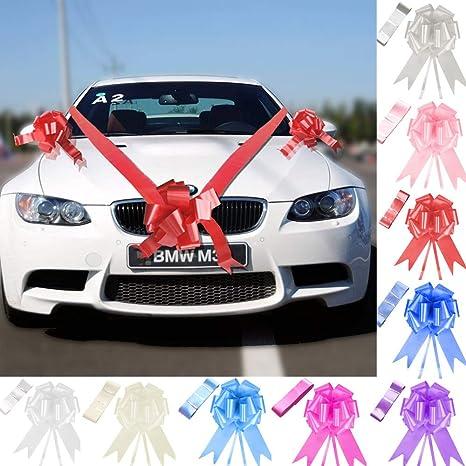 Tts Red Ribbon Wedding Car Decoration Kit Wrapping Large Bow 5 Bows 7 Metres Ribbon