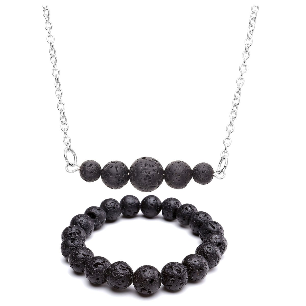 Top Plaza Women Aromatherapy Fashion Casual Black Lava Rock Stone Essential Oil Diffuser Natural Gemstone Pendant Necklace Bracelet Set ATPUS65443