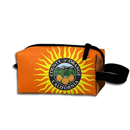 Novel Flag Of Orange County California Portable Toiletry Cosmetic Bag  Waterproof Makeup Make Up Wash Organizer