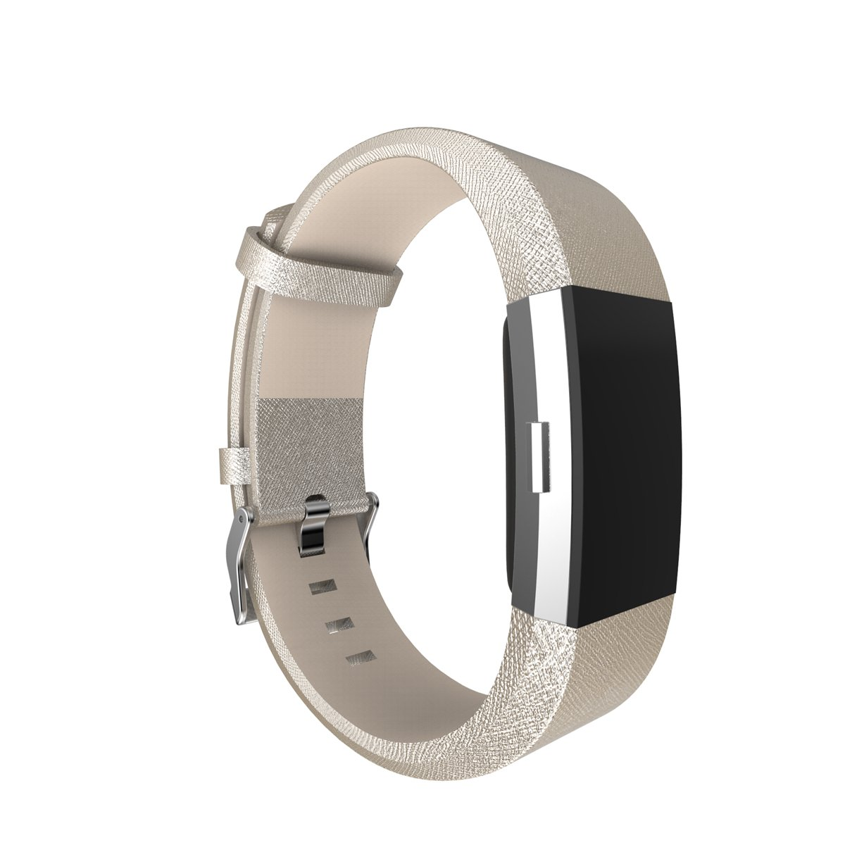 For Fitbit Charge 2 Band Leather Strap, AISPORTS Fitbit Classic Leather Smart Watch Adjustable Replacement Band Wristband with Metal Bracelet Buckle Clasp for Fitbit Charge 2 Fitness Accessories, Gold