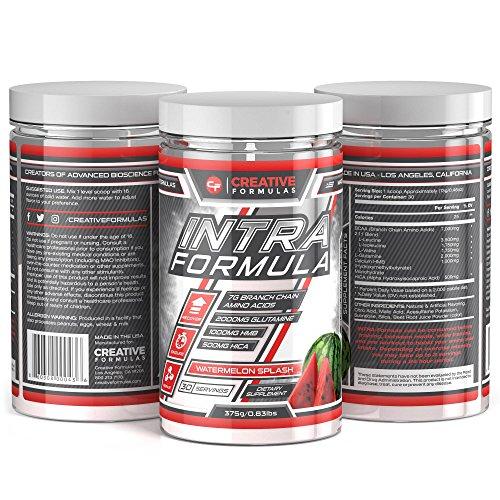 Creative Formulas BCAA Intra Workout Supplement Powder Boosts Strength, Maximizes Muscle Pumps Watermelon Splash 30 Servings