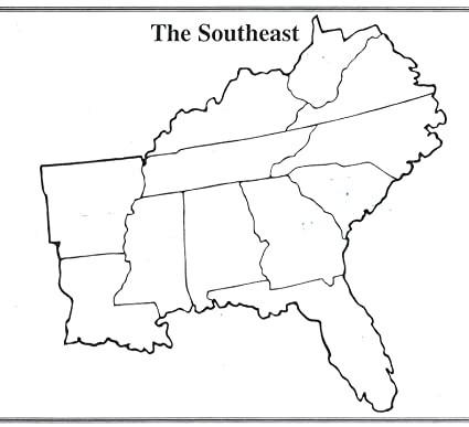 Amazoncom Home Comforts Laminated Map Us Southeast Region Blank - Blank-map-of-southeast-us