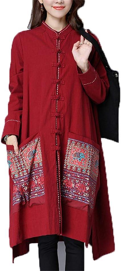 Auspiciousi Camisa China Blusa Mujer Cheongsam Top Kimono Cardigan Lino Chaqueta Top Tradicional de China: Amazon.es: Ropa y accesorios