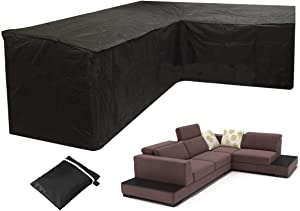 Patio Furniture Covers Mayhour Outdoor Heavy Duty Waterproof Clearence L Shape Corner Sofa Cover Dustproof Windproof Anti-UV Sectional Couch Cover Black for Lawn Garden Yard with Hem Cord Extra Large