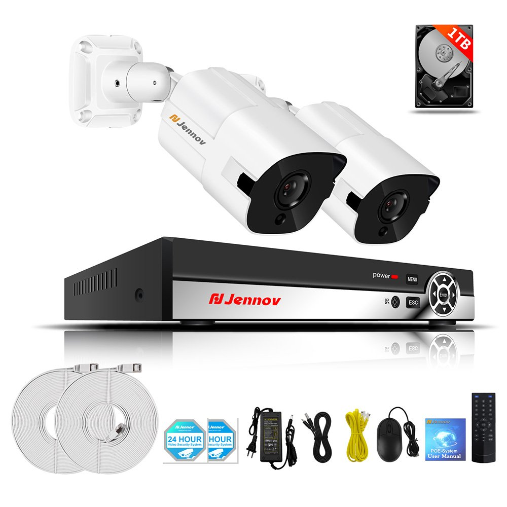 Jennov防犯カメラ 2台セット 200万画素 1080P 録画装置内蔵 USB接続 屋外 赤外線暗視カメラ 高画質 POE給電監視カメラ NVR暗視 モーション感知 防水防塵 スマホ遠隔操作 屋外/屋内 カメラセット (1TBハードディスク内蔵) B07D6Y6HW1  2台 200万画素POE カメラ