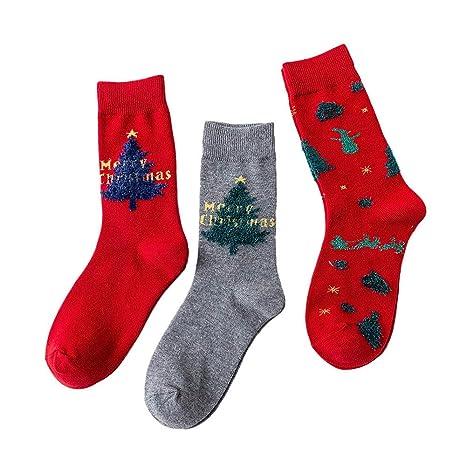LILICAT❋ Calcetines Femeninos de Alce navideños 3 Pares Invierno cálido de Dibujos Animados Animal Algodón
