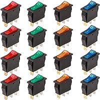 RUNCCI 16Pcs Boton Interruptor Rocker,Mini Interruptores Basculantes,16 A