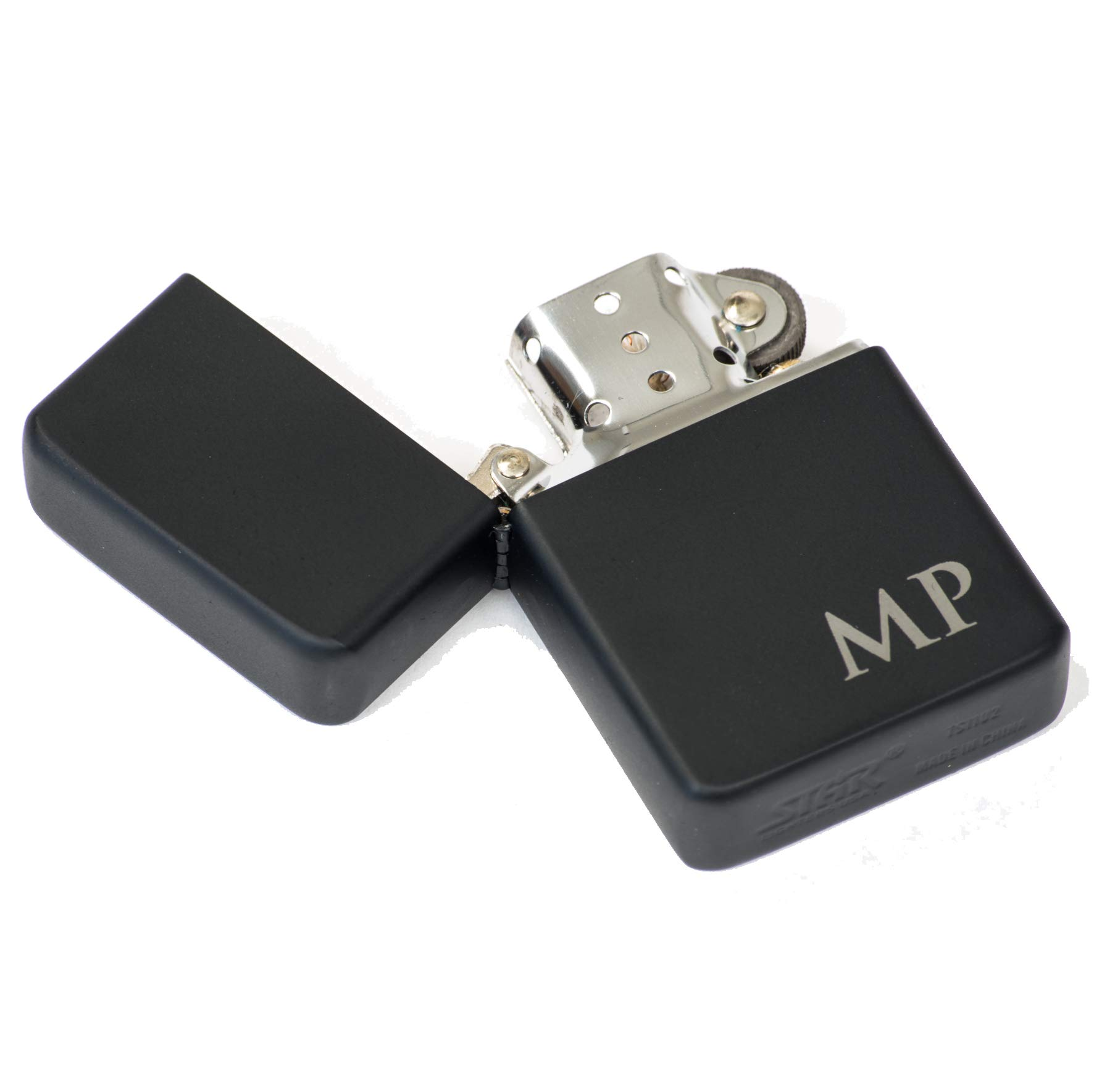 Gift for Him - Personalized/Custom Engraved - Refillable Matte Black Flip Top Lighter, Includes Gift Box Tin - Perfect Smoker's Gift