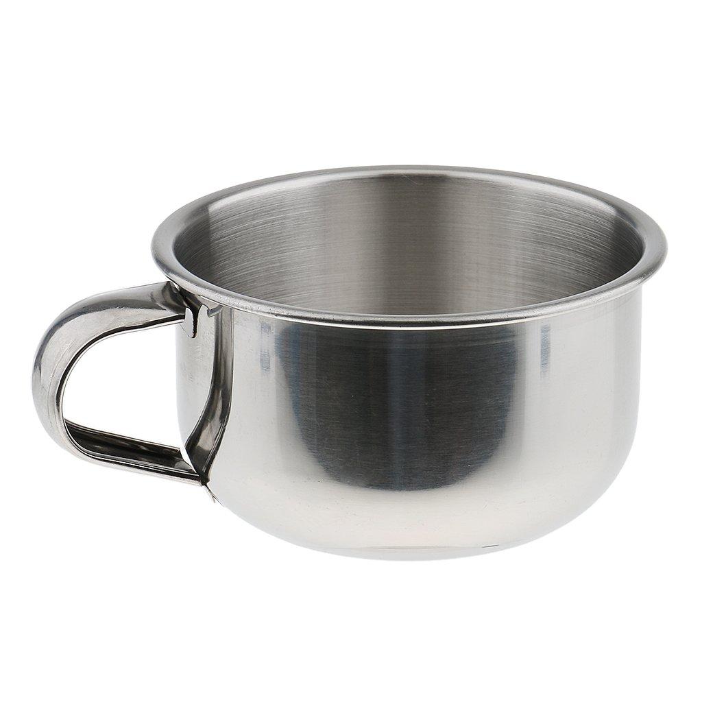 MagiDeal Rust Proof Stainless Steel Men's Shaving Mug Bowl Men Barber Beard Soap Mug Cup with Handle for Shave Brush