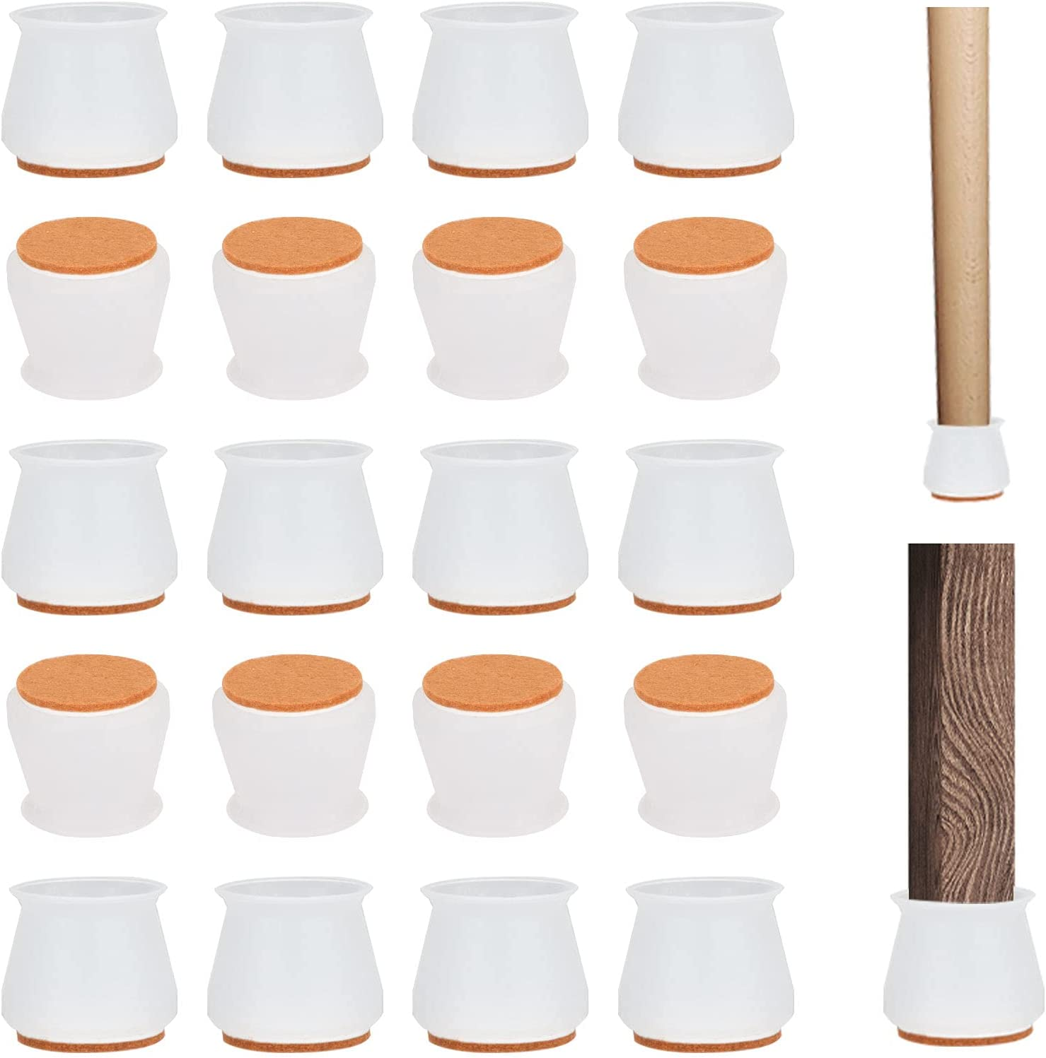 20 Pcs Silicone Chair Leg Floor Protectors with Felt, Chair Leg Caps, Silicon Furniture Leg Feet Protection Cover Protect Hardwood Floor and Reduce Noise (20, Small Fit: 0.7
