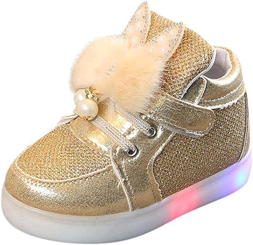 Baskets LED Enfant Fille Lapin Chaussures Sport Chaussures de Sport Lumineuses Clignotants /à LED Bas /âge B/éB/é Multicolores Mode Sports Baskets pour 1-7 Ans BaZhaHei
