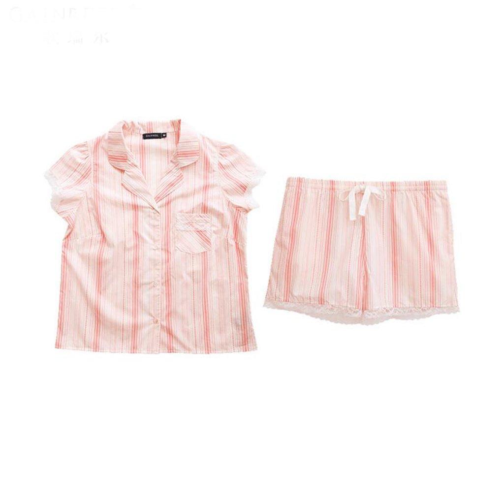 GAODUZI サマースウィートドレスストライプレディース半袖パジャマコットンツーピースホームスカート(パジャマ+ショーツ) Xl xl ピンク ぴんく B07DRFNGFH