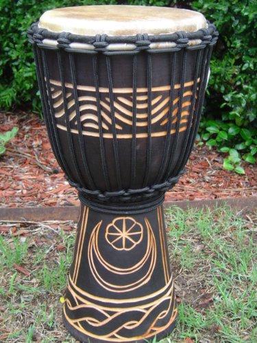 16'' Tall X 8'' Head Djembe Bongo Drum, Moon & Star Designs. Model # 40m3