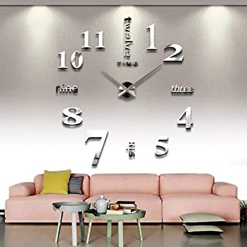 Charmant CoZroom Large Silver 3D Frameless Wall Clock Stickers DIY Wall Decoration  For Living Room Bedroom