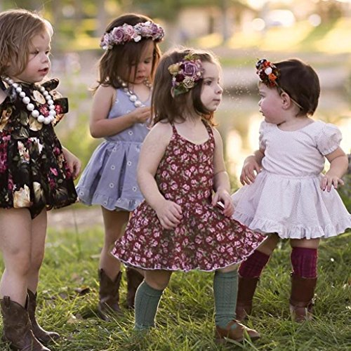 dbfd38f24587 Winsummer Kids Girl Strap Floral Backless Ruffle Princess Dresses Summer  Sundress Clothes